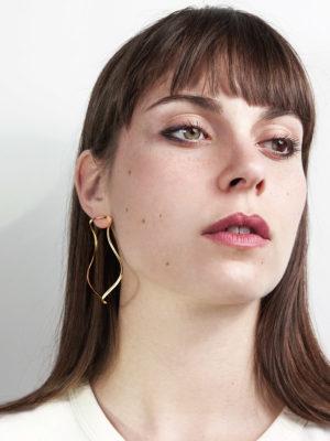 Waves Large earrings yellow vermeil
