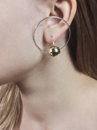 Satellite earring Large silver and yellow vermeil