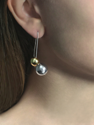 Olympe X-Long earring silver and yellow vermeil